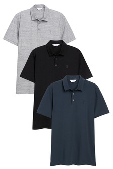 Blue/Grey/Black Jersey Polo Shirts 3 Pack