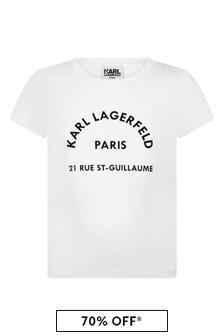 Girls White Logo Print Jersey T-Shirt