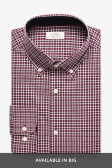 Burgundy Regular Fit Single Cuff Check Regular Fit Shirt