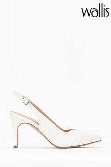 Wallis White Slingback Low Block Heel Court Shoes