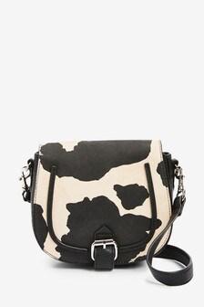 Cow Print Across Body Saddle Bag