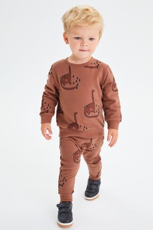 Rust Red Dinos Crew and Joggers All Over Print Jersey Set (3mths-7yrs)