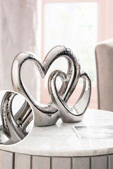 Silver Ceramic Heart Ornament