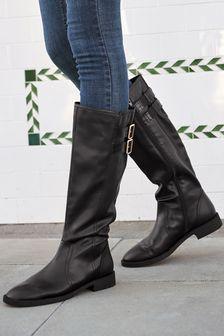 Black Regular/Wide Fit Forever Comfort® Buckle Knee High Boots