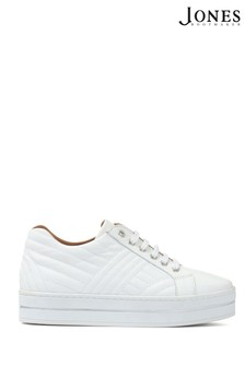 Jones Bootmaker White Amira Leather Platform Trainers