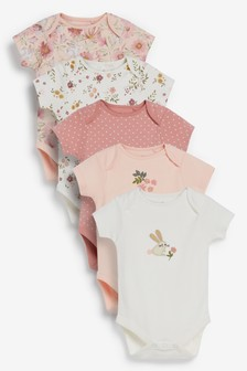 Pink Floral 5 Pack Short Sleeve Bodysuits (0mths-3yrs)