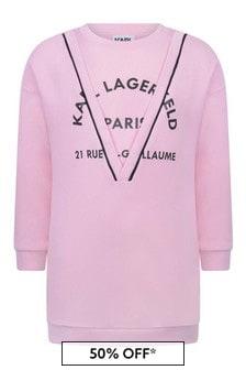 Karl Lagerfeld Girls Pink Cotton Sweater Dress