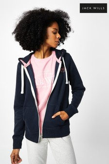 Jack Wills Navy Susan Embroidered Zip Thru Hoodie