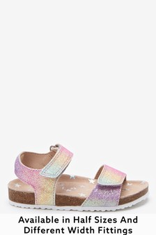Rainbow Glitter Wide Fit (G) Sandals (Younger)