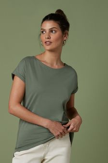 Khaki Green Cap Sleeve T-Shirt