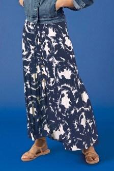 Navy Tie Dye Maxi Skirt