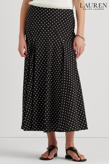 Black Lauren Ralph Lauren Black Polka Dot Varzi Pleated Midi Skirt