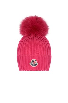 Girls Pink Wool Hat With Pom Pom