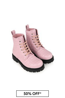 Girls Pink Leather Logo Boots