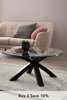 Black Oak And Glass Coffee Table