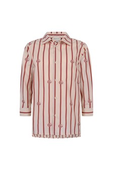 Boys Dark Red Cotton Striped Shirt