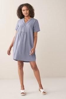 Blue Linen Blend Kaftan Dress