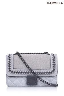 Carvela Chrome Bailey Quilted Chain Shoulder Bag