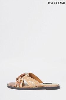 River Island Brown W Cross Vamp Sandals