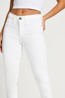 River Island White Molly Mid Rise Snowman Jeans