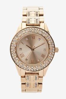 Rose Gold Tone Sparkle Bracelet Watch