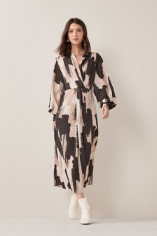 Black Smudge Print Midi Shirt Dress