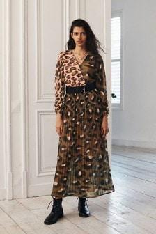Animal Pleated Midi Wrap Dress