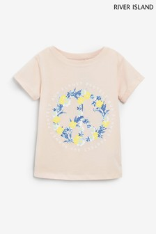 River Island Pink Peace Sign T-Shirt