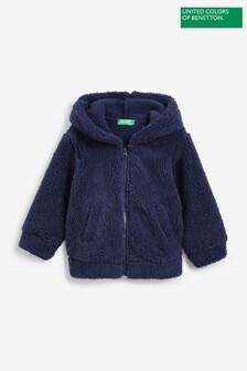 Benetton Navy Fleece Zip Through Hoodie