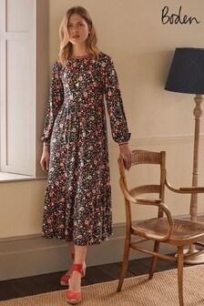 Boden Black Embroidered Jersey Midi Dress
