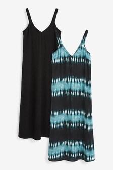 Tie Dye V-Neck Slip Dresses 2 Pack