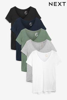 Multi Slouch V-Neck T-Shirts 5 Pack