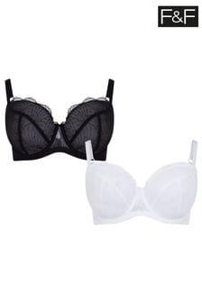 F&F Black/White Butterfly Bras 2 Pack