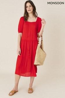 Monsoon Red Square Neck Midi Dress In Lenzing™ Ecovero™