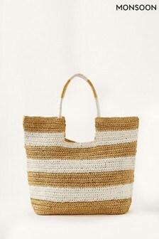 Monsoon Natural Seema Stripe Straw Shopper Bag