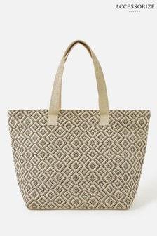 Accessorize Cream Diamond Weave Tote Bag