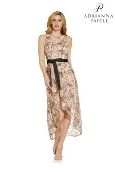 Adrianna Papell Nude High Low Sequin Dress