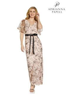 Adrianna Papell Nude Floral Sequin Gown