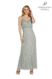 Adrianna Papell Grey Beaded Gown With Mermaid Skirt