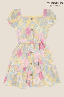 Monsoon Floral Puff Sleeve Dress in Linen Blend