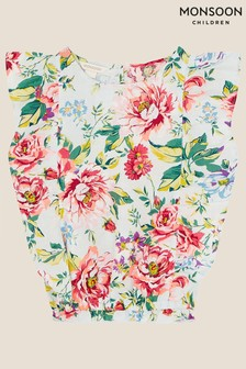 Monsoon Floral Top in Linen Blend