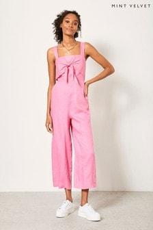 Mint Velvet Pink Knotted Linen Jumpsuit