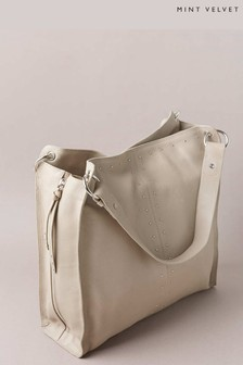Mint Velvet Hanna Beige Stud Shoulder Bag