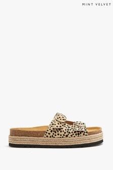 Mint Velvet Eda Leopard Leather Sandals