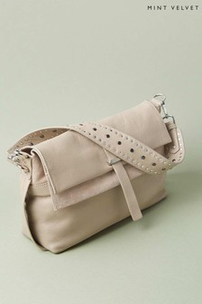 Mint Velvet Amber Beige Stud Cross Body Bag