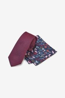 Burgundy Red Slim Tie And Pocket Square Set