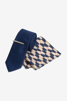 Navy Blue Geometric Tie, Pocket Square And Tie Clip Set