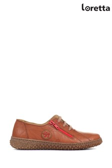 Loretta Tan Leather Ladies Lace-Up Shoes