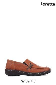Loretta Tan Ladies Handmade Leather Slip-On Shoes