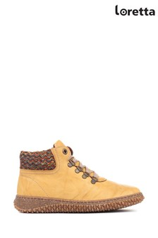 Loretta Yellow Leather Ladies Ankle Boots